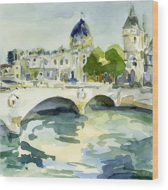 Paris Wood Print featuring the painting Pont De Change Watercolor Paintings Of Paris by Beverly Brown