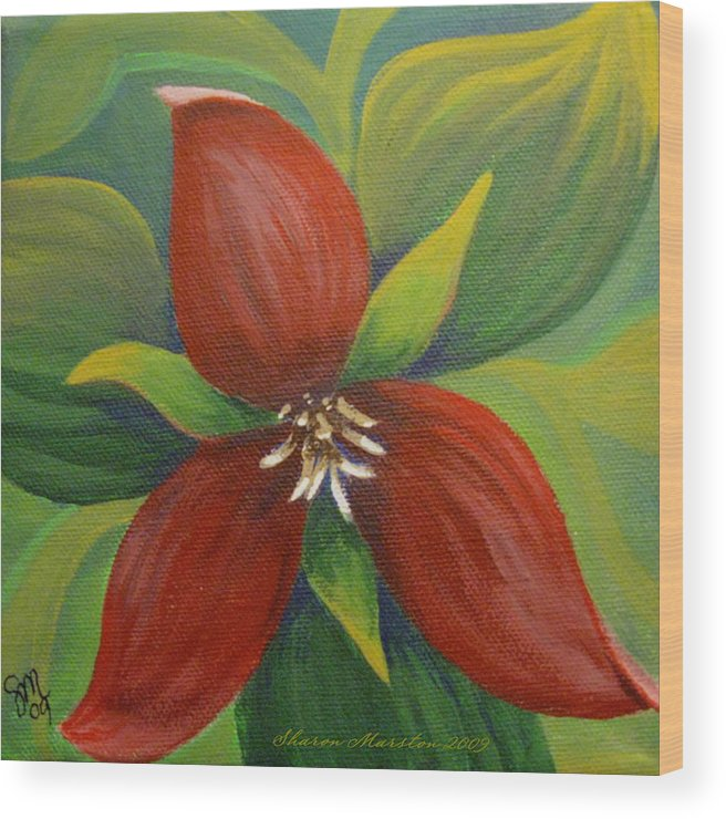 Purple Trillium Wood Print featuring the painting Purple Trillium by Sharon Marcella Marston