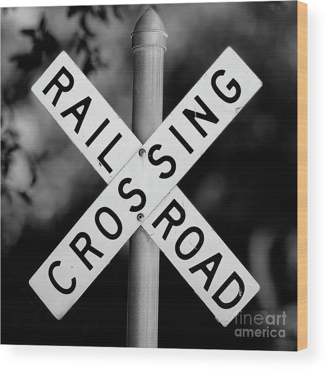 Railroad Wood Print featuring the photograph Railroad Crossing Sign by Traci Law