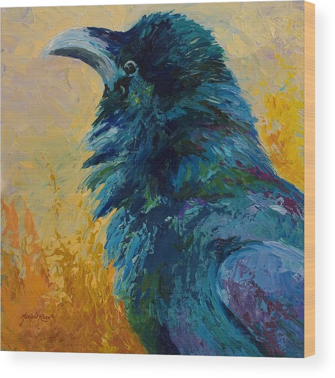 Crows Wood Print featuring the painting Raven Study by Marion Rose