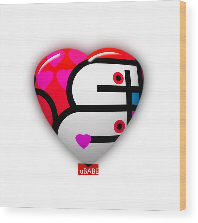 Ubabe Brand Wood Print featuring the painting Red Love Heart by Charles Stuart