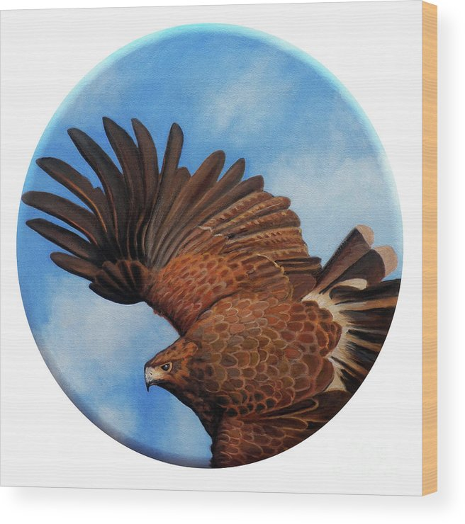 Hawk Wood Print featuring the painting Riding The Wind by Brian Commerford