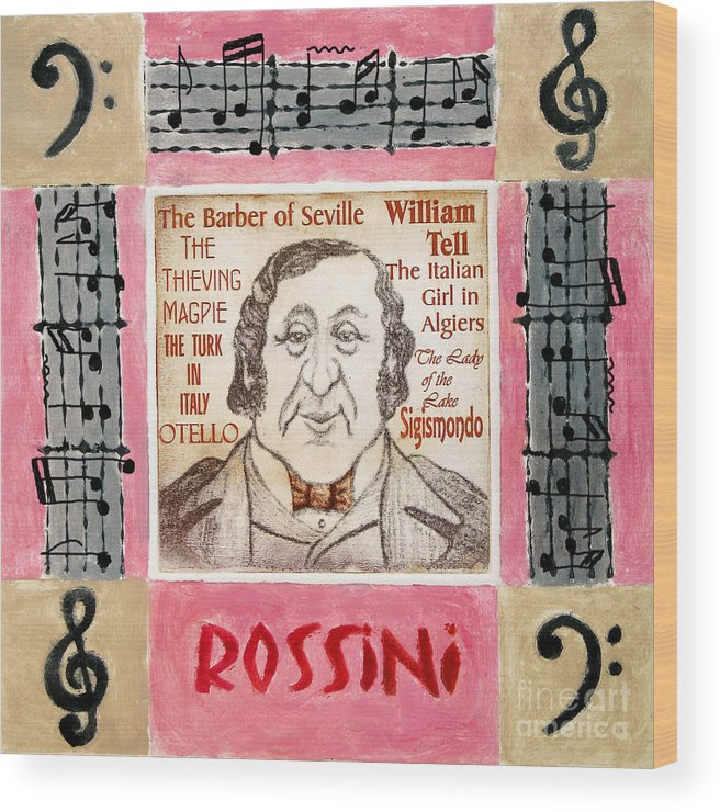 Rossini Wood Print featuring the mixed media Rossini Portrait by Paul Helm