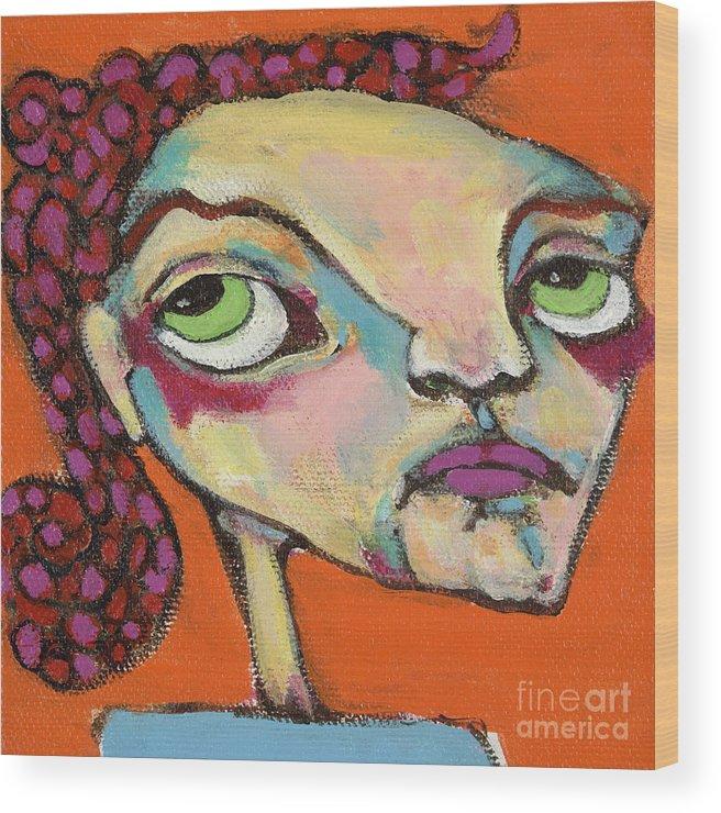 Circle Head Art Wood Print featuring the painting Roxie Box by Michelle Spiziri