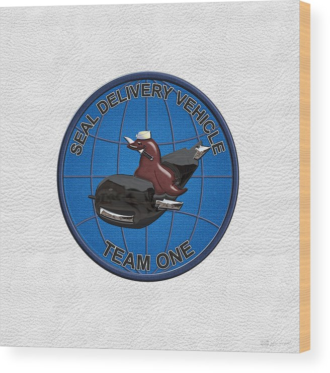 S E A L Delivery Vehicle Team One - S D V T 1 Patch Over White Leather Wood  Print