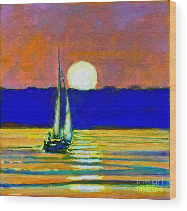 Sailboat Painting Wood Print featuring the painting Sailboat With Moonlight by Kip Decker