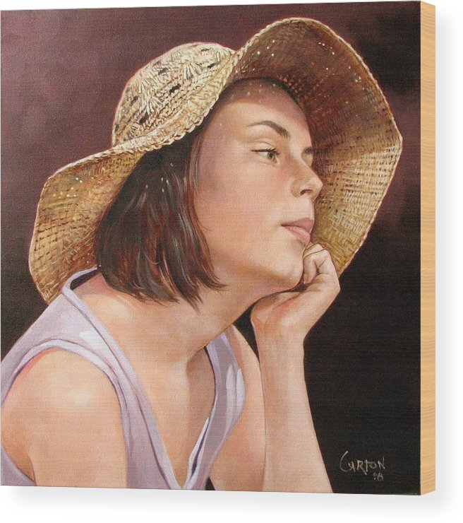 Portrait Wood Print featuring the painting Sammie by Jerrold Carton