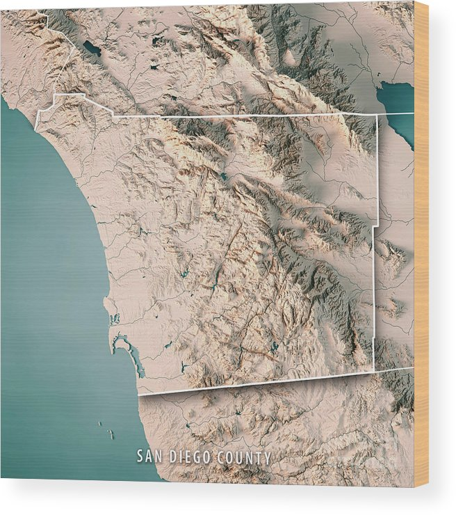 San Diego County California Usa 3d Render Topographic Map Neutra