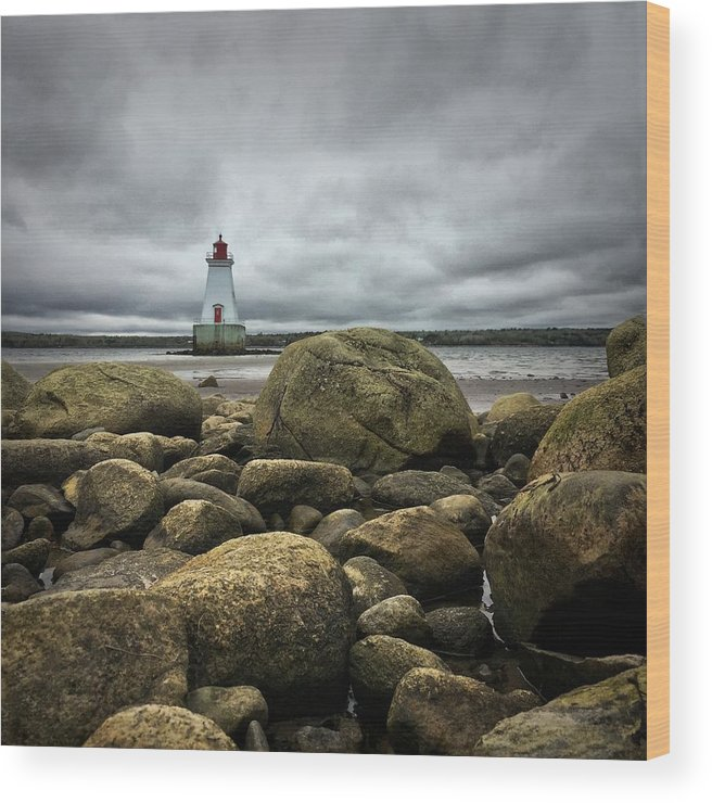 Sandy Wood Print featuring the photograph Sandy Point Lighthouse by Christine Sharp