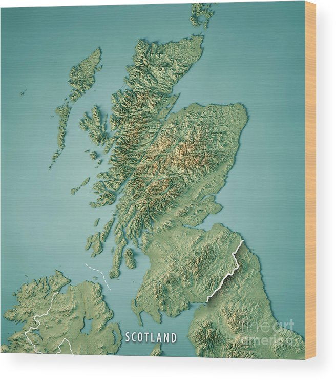 Scotland Country 3d Render Topographic Map Border Wood Print by