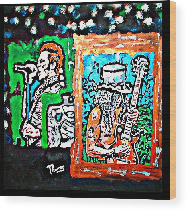 Rock Wood Print featuring the painting Scott Weiland And Slash by Christopher Thames