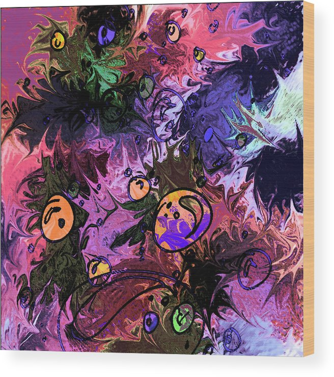 Abstract Wood Print featuring the digital art Sea Creatures by Rachel Christine Nowicki