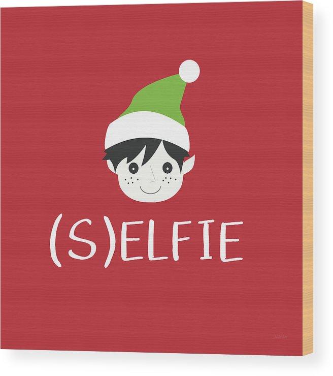Christmas Wood Print featuring the digital art Selfie Elf- Art By Linda Woods by Linda Woods