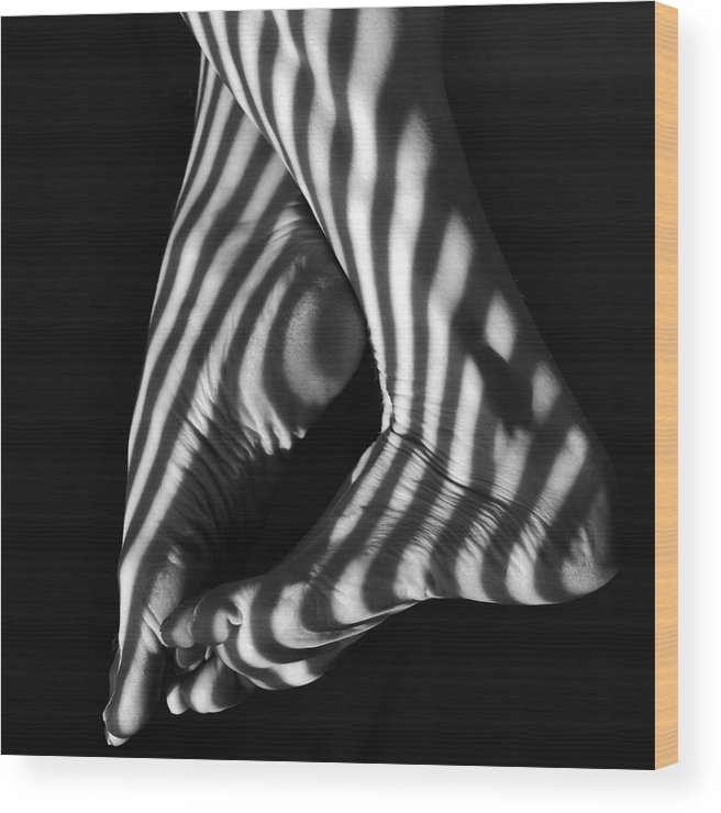 Black And White Wood Print featuring the photograph Shadow Walker by Shelly Wickens
