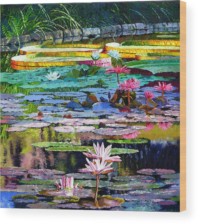 Water Lilies Wood Print featuring the painting Shadows And Sunlight by John Lautermilch