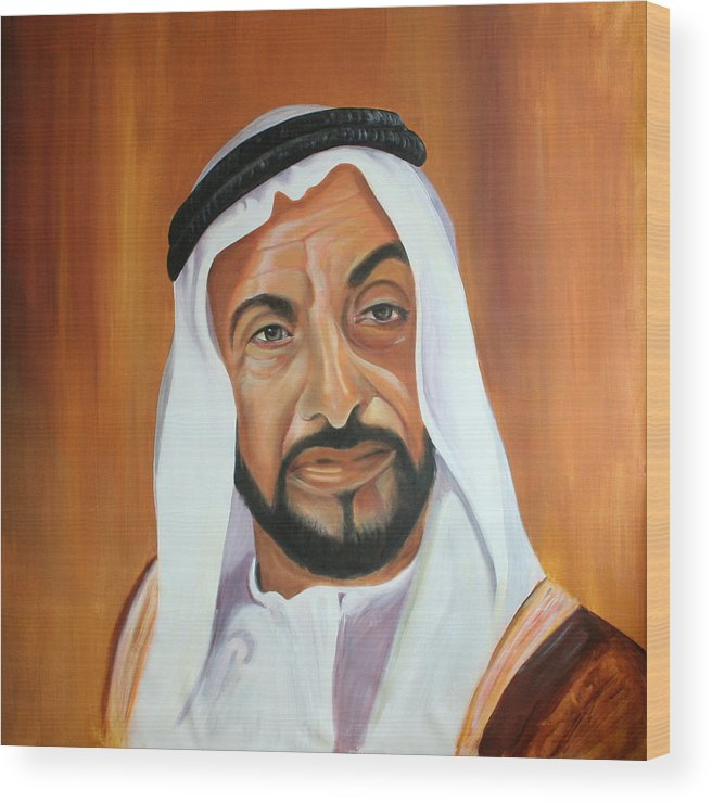 Abu Dhabi Wood Print featuring the painting Sheikh Zayed Bin Sultan Al Nahyan by Fiona Jack