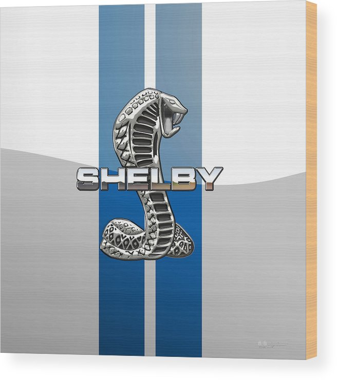 'auto Badges' Collection By Serge Averbukh Wood Print featuring the photograph Shelby Cobra - 3d Badge by Serge Averbukh
