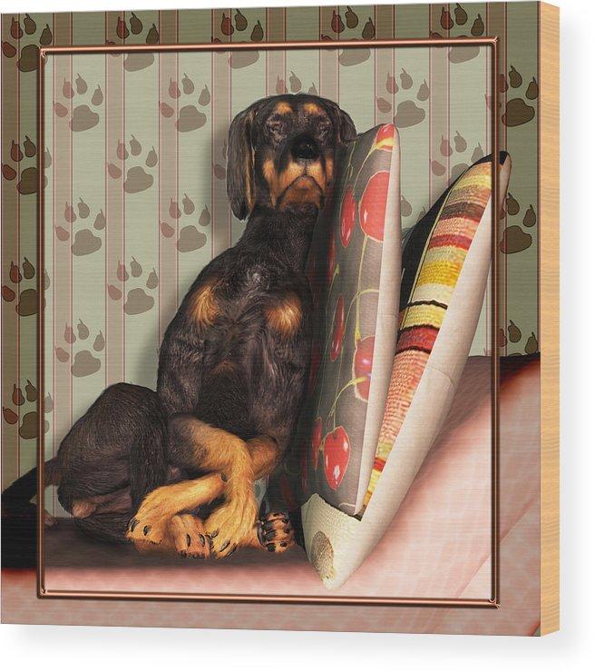 Dog Wood Print featuring the digital art Sleeping I by Nik Helbig