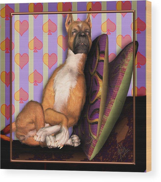 Dog Wood Print featuring the digital art Sleeping II by Nik Helbig