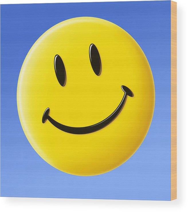 Smiley Face Symbol Wood Print By Detlev Van Ravenswaay