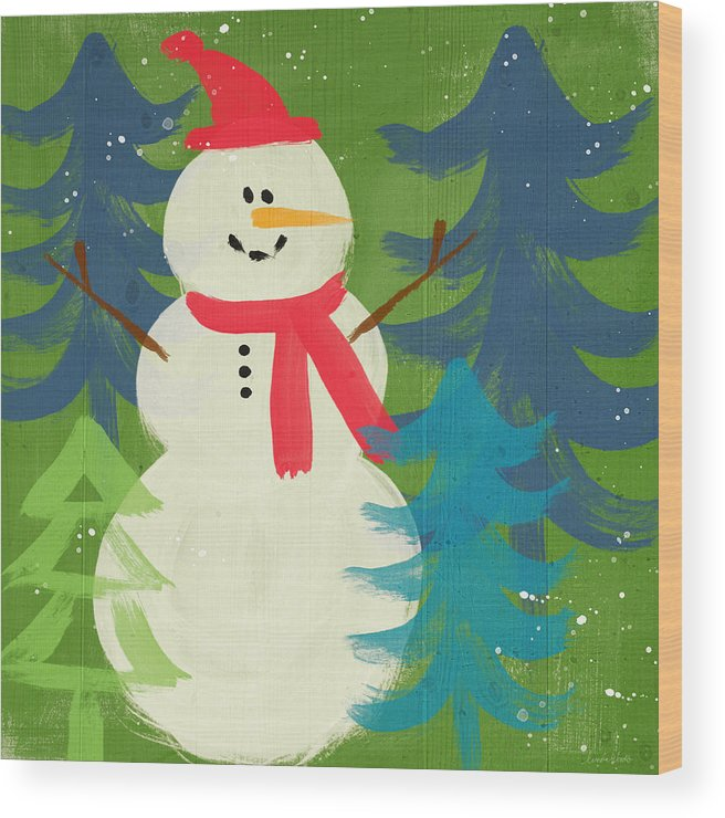 Snowman Wood Print featuring the painting Snowman In Red Hat-art By Linda Woods by Linda Woods