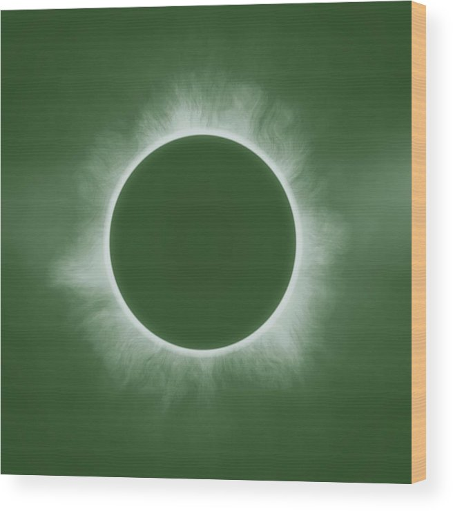 Sun Wood Print featuring the painting Solar Eclipse In Forest Color by Celestial Images