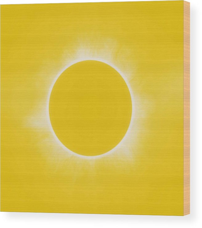 Sun Wood Print featuring the painting Solar Eclipse In Lemon Colors by Celestial Images