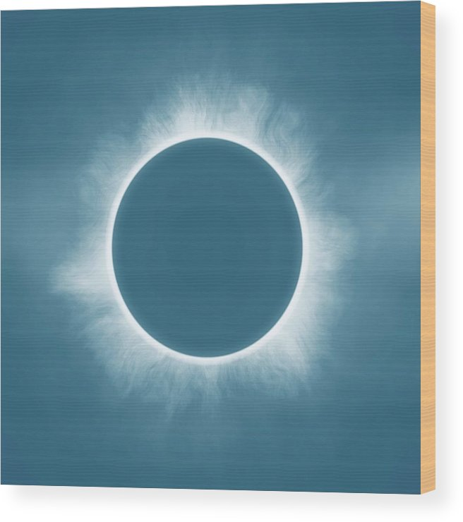 Sun Wood Print featuring the painting Solar Eclipse In Stormy Sky Color by Celestial Images