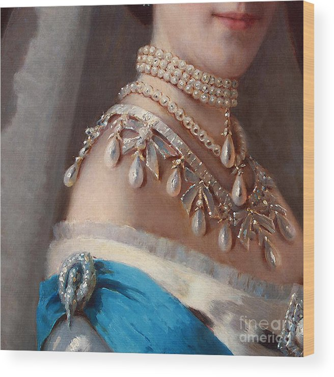 Danish Princess Wood Print featuring the painting Historical Fashion, Royal Jewels On Empress Of Russia, Detail by Tina Lavoie