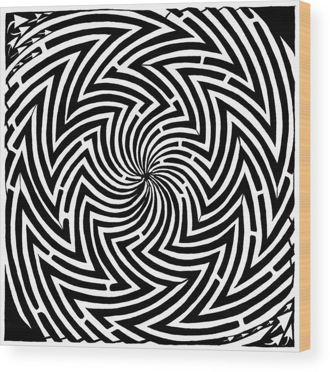 Spinning Wood Print featuring the drawing Spinning Optical Illusion Maze by Yonatan Frimer Maze Artist