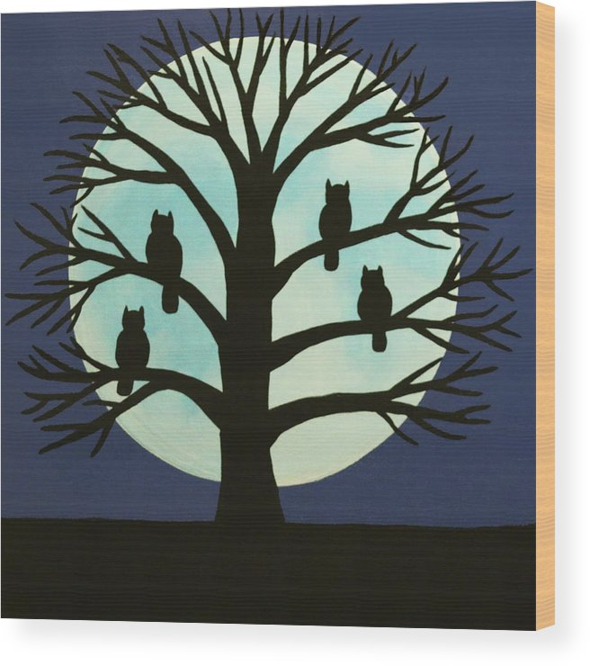 Spooky Owl Tree Wood Print