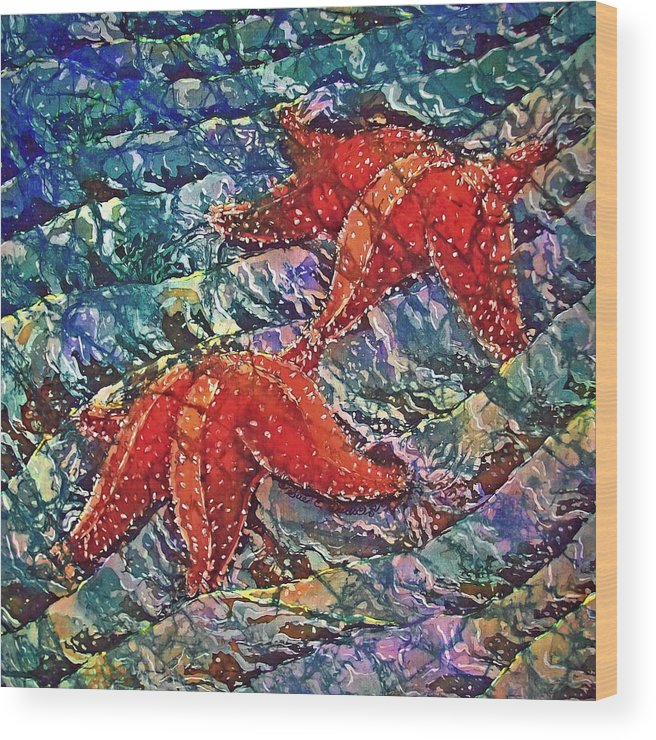 Stars Wood Print featuring the painting Starfish 2 by Sue Duda