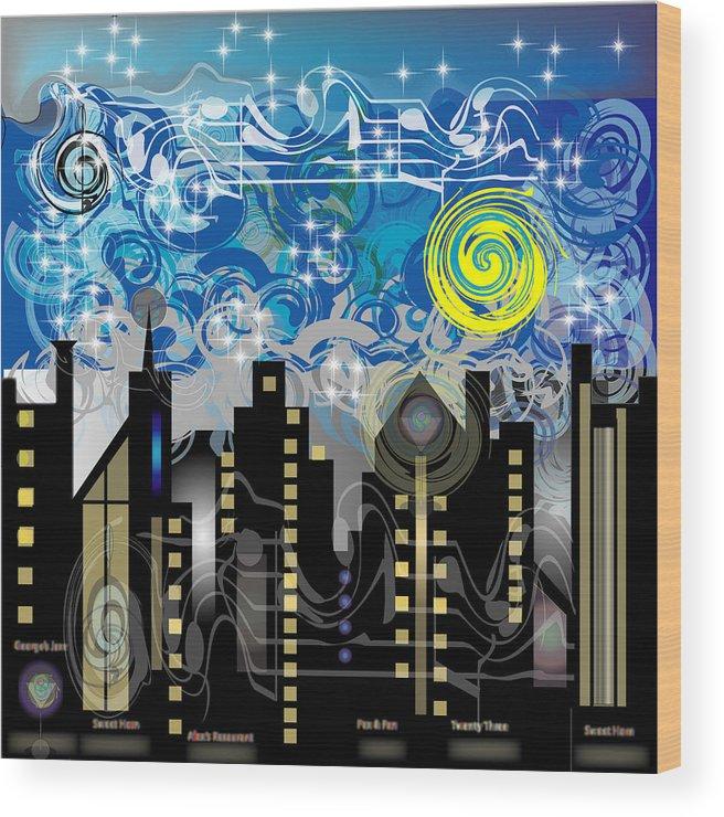 Jazz Wood Print featuring the digital art Starry Night by George Pasini