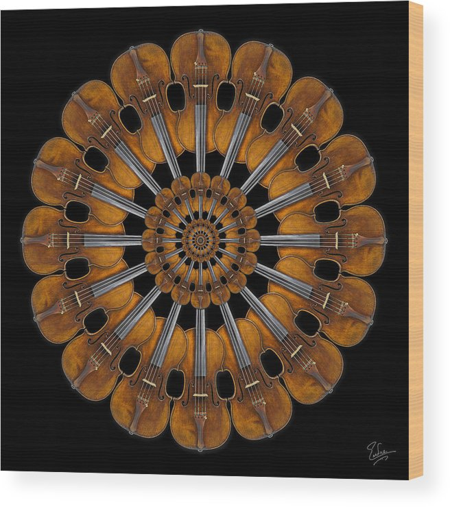 Strad Wood Print featuring the photograph Stradivarius Rosette by Endre Balogh