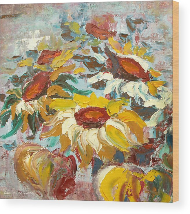 Sunflowers Wood Print featuring the painting Sunflowers 13 by Gina De Gorna
