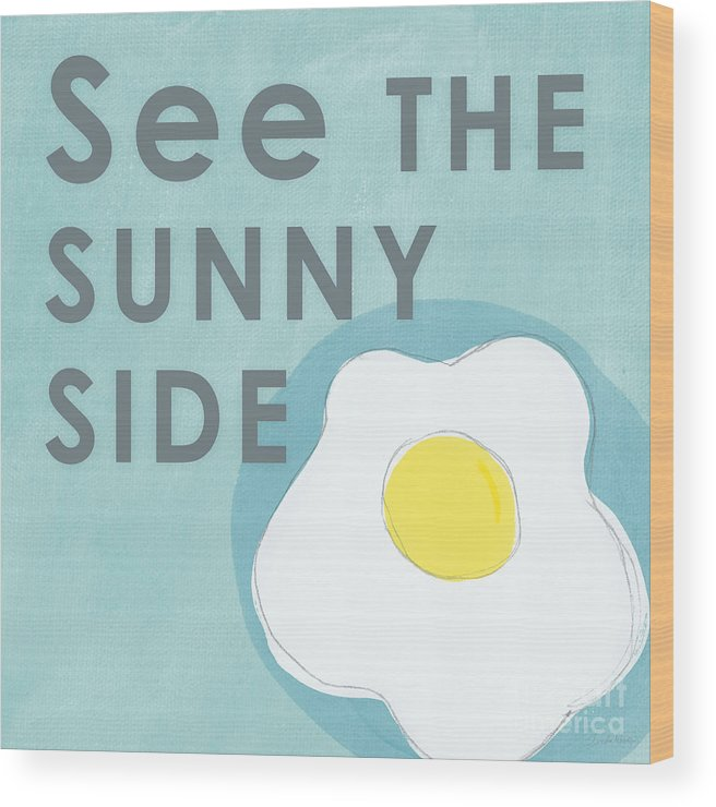 Egg Wood Print featuring the mixed media Sunny Side by Linda Woods