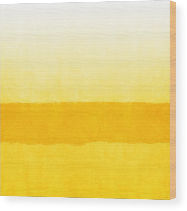 Abstract Wood Print featuring the painting Sunrise- Yellow Abstract Art By Linda Woods by Linda Woods