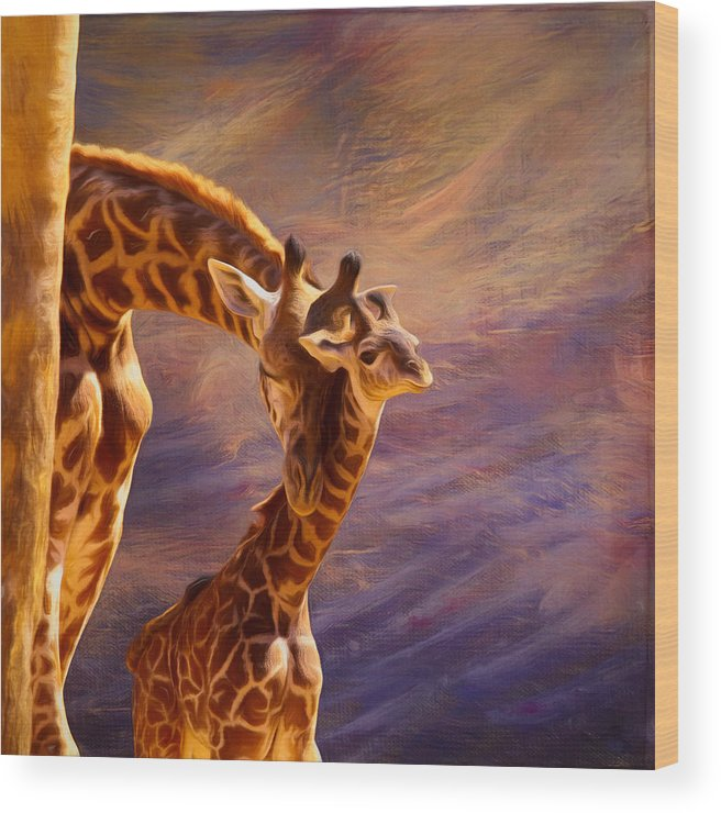Giraffe Wood Print featuring the mixed media Tenderness Painted by Judy Vincent