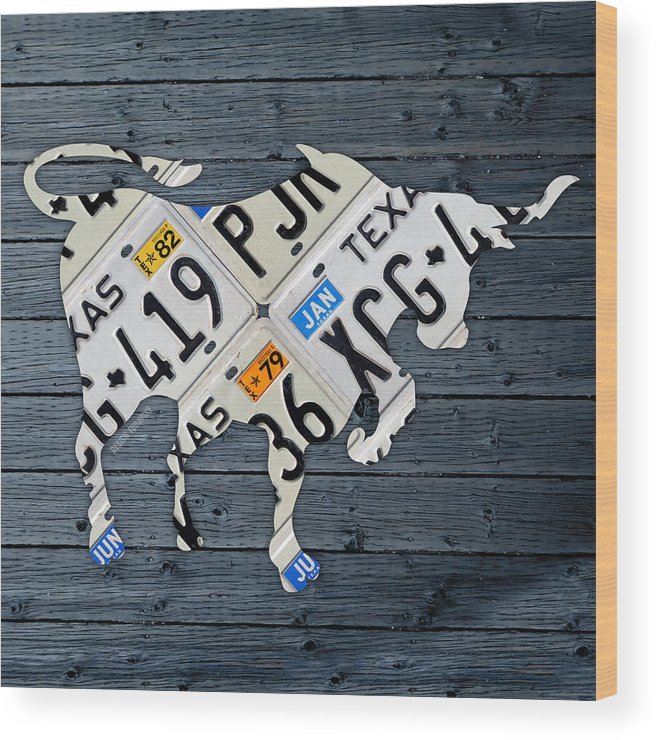 Texas Wood Print featuring the mixed media Texas Longhorn Vintage License Plate Art On Blue Gray Barn Wood by Design Turnpike