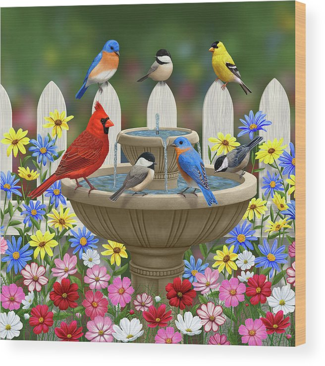 Birds Wood Print featuring the painting The Colors Of Spring - Bird Fountain In Flower Garden by Crista Forest