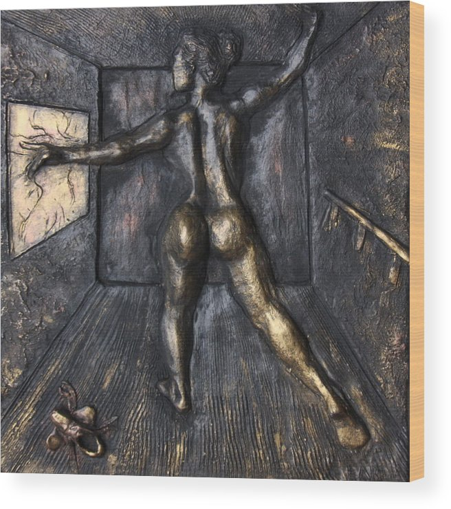 Female Nude Wood Print featuring the sculpture The Dance Studio by Dan Earle