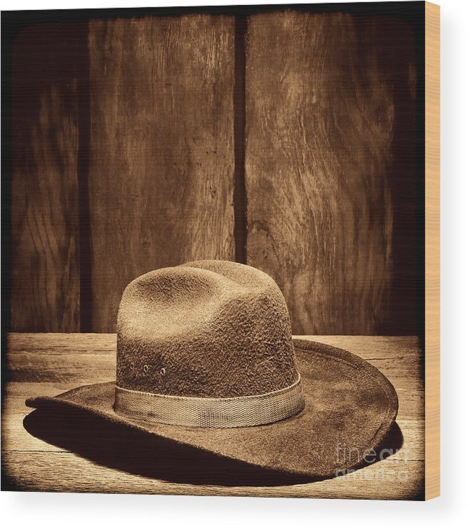 Cowboy Hat Wood Print featuring the photograph The Dirty Brown Hat by American West Legend By Olivier Le Queinec