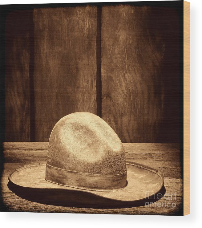 Cowboy Hat Wood Print featuring the photograph The Dirty Tan Hat by American West Legend By Olivier Le Queinec