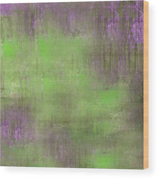 Digital Graphic Wood Print featuring the digital art The Green Fog by Mihaela Stancu