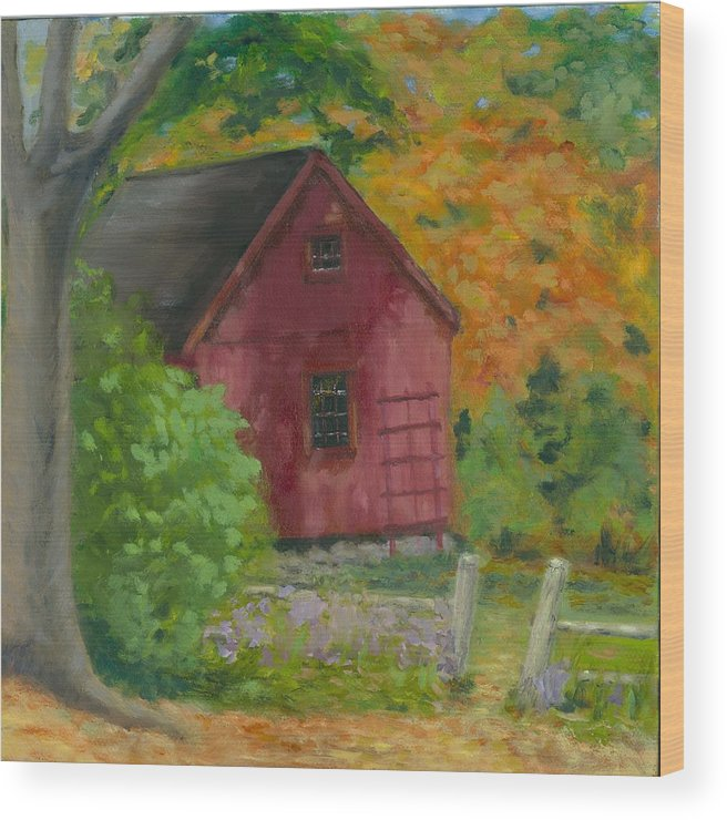 Landscape Wood Print featuring the painting The Last Days Of Autumn by Paula Emery
