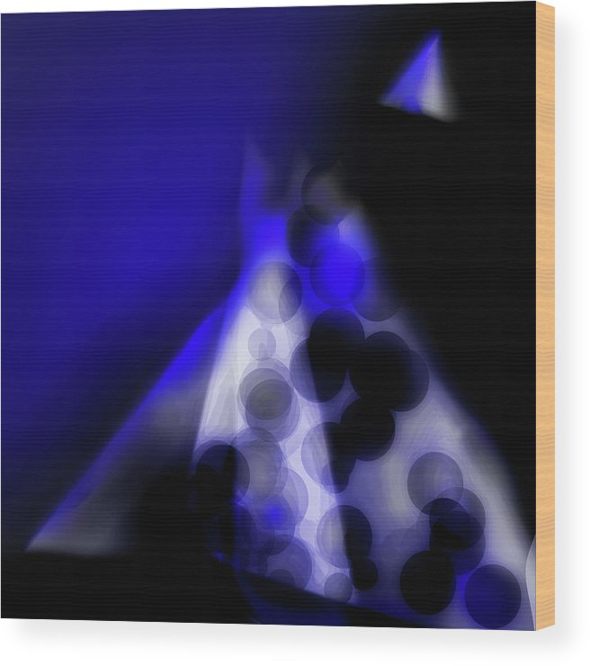Mountain Wood Print featuring the digital art The Summit - Blue by Benjamin Nelson