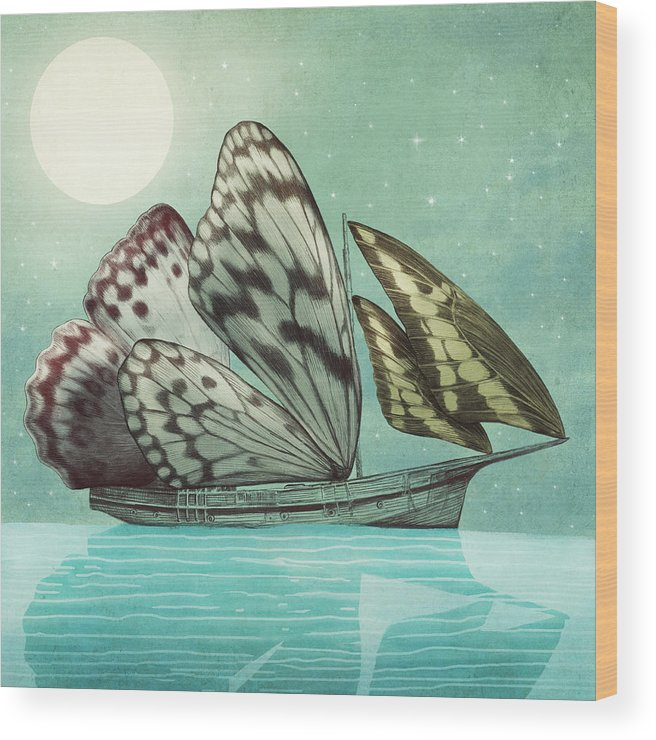 Butterfly Wood Print featuring the drawing The Voyage by Eric Fan