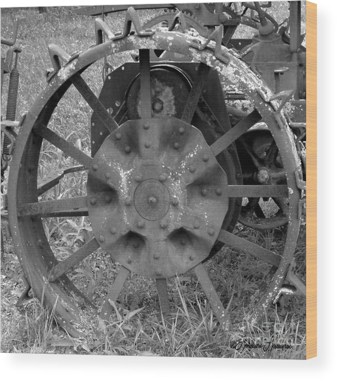 Farm Equipment Wood Print featuring the photograph The Wheel by Lorraine Louwerse
