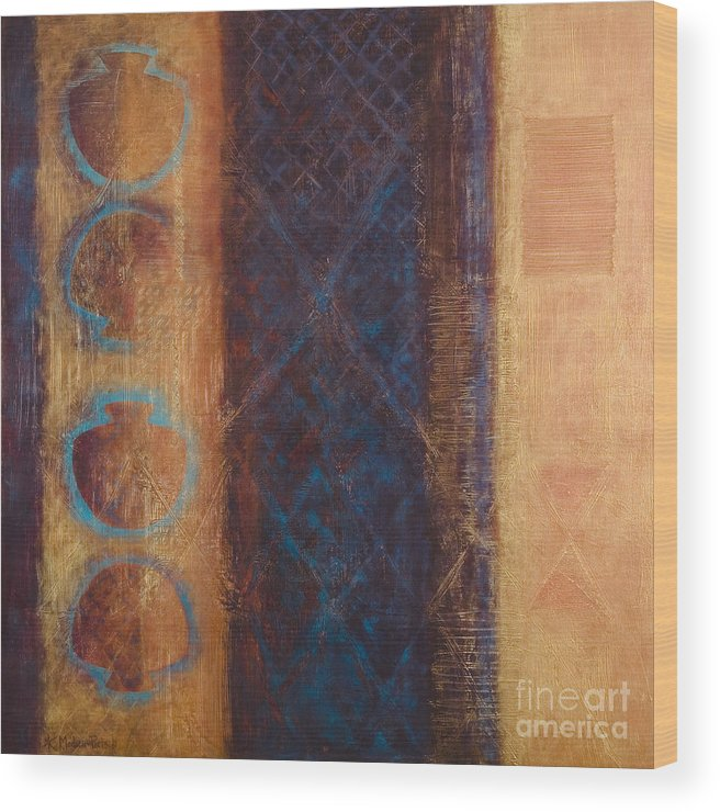 Abstract Wood Print featuring the painting The X Factor Alchemy Of Consciousness by Kerryn Madsen-Pietsch