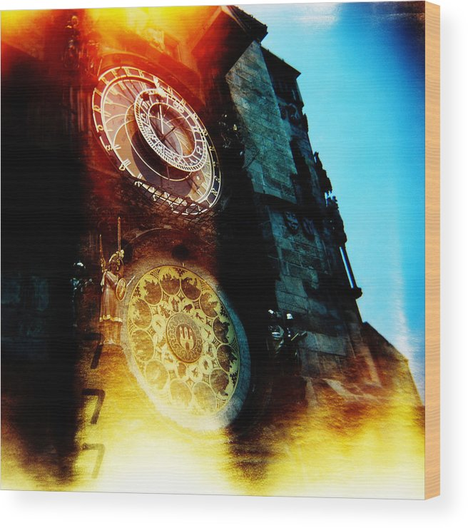Clock Time Holga Color Photograph Praha Wood Print featuring the photograph Time Is Burning by Olivier De Rycke